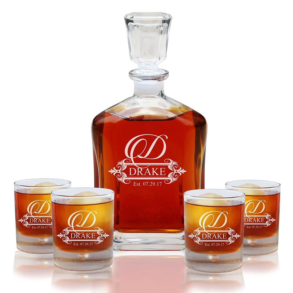 Personalized 5-Piece Whiskey Decanter Set
