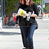 Jennifer Garner picked up lunch and carried a pink beverage in her hand.