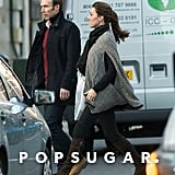 Pregnant Kate Middleton bundled up for the Winter weather.  Source: Topstar Pictures
