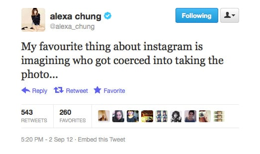 Alexa Chung thinks behind the scenes when it comes to Instagram.