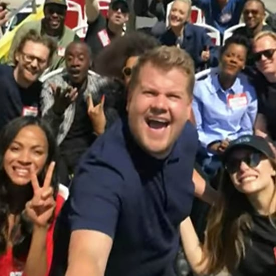 Avengers Infinity War Cast on James Corden Tour Bus