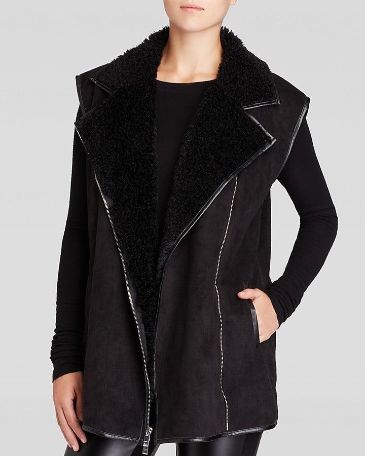 DKNYC Faux Shearling Moto Vest