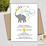 Elephant With Rainbow Hearts Invitation