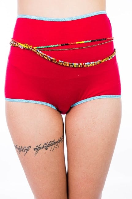 High-waisted watermelon red and turquoise panties