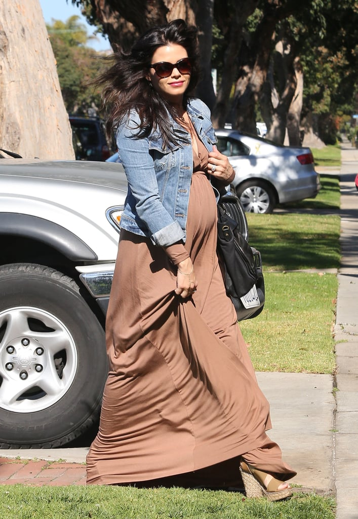 Jenna Dewan wore a brown maxi dress and jean jacket to her doctor's appointment in LA on Wednesday.