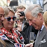 Prince Charles laughed with the crowds.