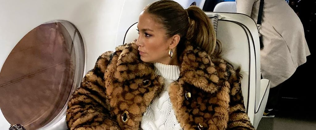 Jennifer Lopez's Coach Logo Coat on the Plane to New York