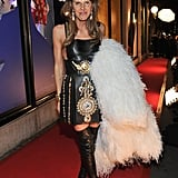 Anna Dello Russo wearing another amazing, outrageous ensemble at the Victoria Beckham collection launch at Harvey Nichols.