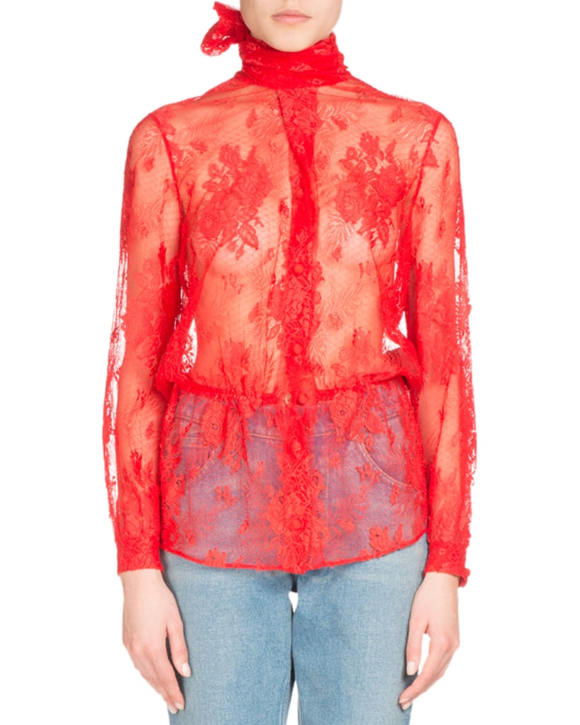 Balenciaga Lace Scarf-Tie Blouse