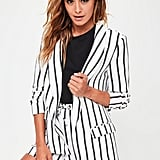 Missguided White Striped Gathered Sleeve Blazer