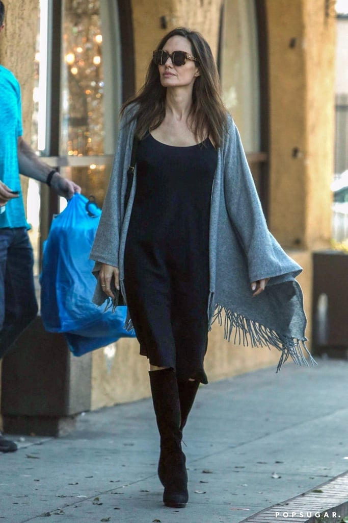 Angelina Jolie Wearing Gray Poncho