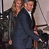George Clooney and Stacy Keibler got into the car after having dinner with Cindy Crawford and Rande Gerber in LA.
