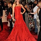 Gisele Bundchen in Ravishing Red McQueen Gets a Carpet Kiss From Tom Brady