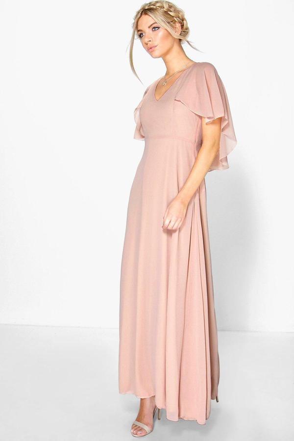 Boohoo Hollie Chiffon Cape Detail Maxi Dress ($44) | Affordable ...