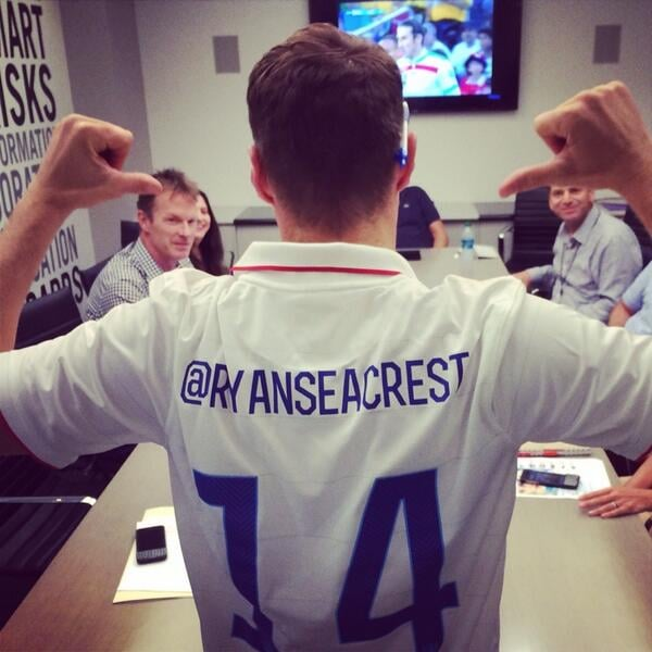 Even while in a work meeting, Ryan Seacrest made sure to support Team USA. Source: Twitter user RyanSeacrest