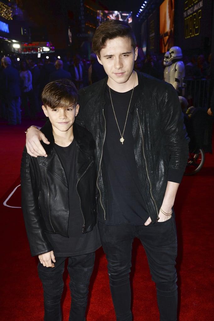 Brooklyn and Romeo Beckham at the UK Star Wars Premiere