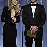 On stage at January's Golden Globe Awards, Bradley Cooper presented with Kate Hudson.