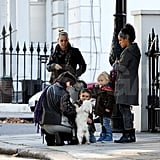 Kingston Rossdale and Zuma Rossdale pet Daisy Lowe's dog Uncle Monty.
