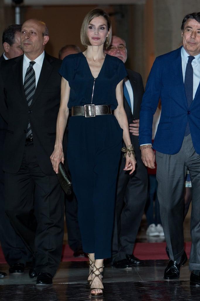 Queen Letizia wearing Hugo Boss.