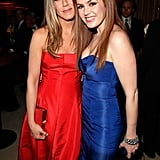 She stuck close to Isla Fisher at the Vanity Fair Oscars afterparty in February 2013.