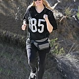 On Sunday, Fergie went for a run in LA's Brentwood neighborhood.