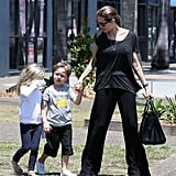 Angelina Jolie held hands with Knox during a shopping trip for Halloween supplies in Queenslands on Oct. 26.