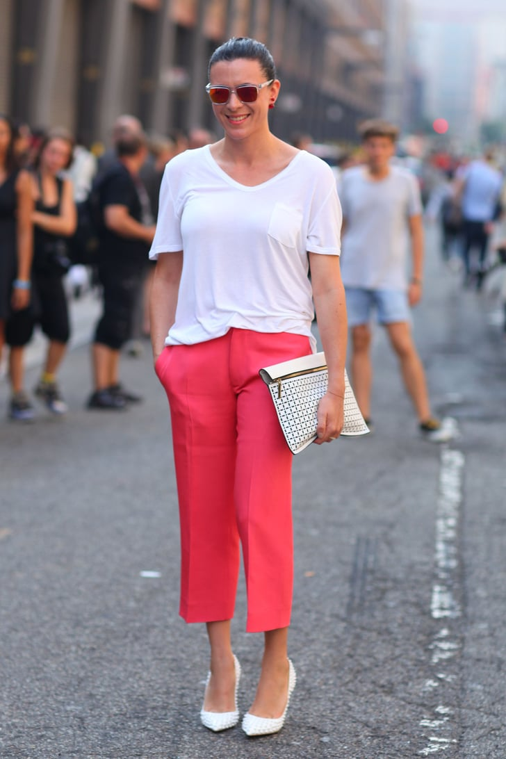 Garance Dore styled up a white t-shirt with red trousers ...