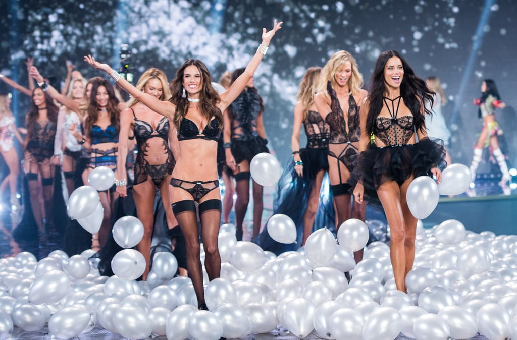Adriana Lima and Alessandra Ambrosio led the models through the finale at the London show in 2014.