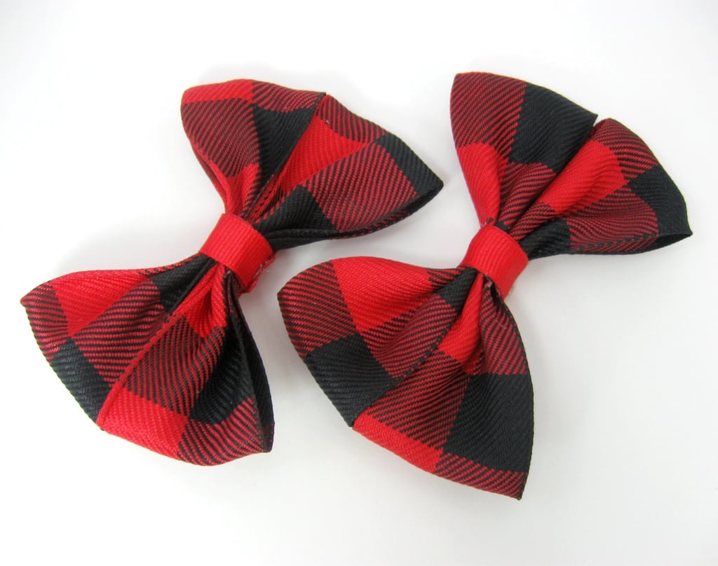 For the girl who doesn't want to be too overt with her holiday cheer, there's this set of red plaid bow hair clips ($6).