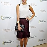 Jamie Chung looked simultaneously sophisticated and rebellious in this Ann Taylor leopard jacquard flounce skirt ($89) at a Perrier-Jouët event in West Hollywood. She completed her nighttime look with a white tank with black leather insets, a black leather clutch, caged sandals, and a gold cuff bracelet.