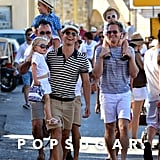 The whole family had a laugh while out in the city in Saint-Tropez.