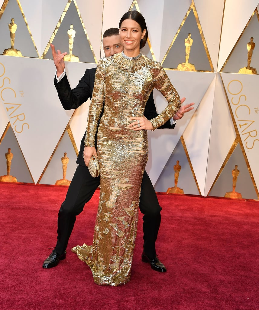 Justin got silly with Jessica at the Oscars in February 2017.