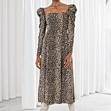 & Other Stories Ruched Leopard Maxi Dress