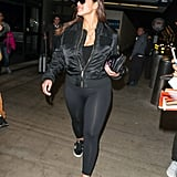You can travel in your one-piece (especially if you're headed some place warm) to feel comfortable and secure on a long flight like Ashley Graham. Swimsuits hold everything in place.