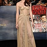 Kristen stole the show at the November 2012 premiere of Breaking Dawn Part 2 in a revealing sheer lace Zuhair Murad gown — the strapless, nude-coloured dress left little to the imagination and solidified Kristen's place as a red carpet vixen.
