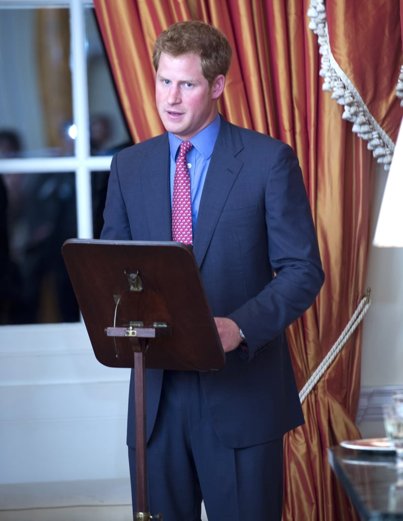 Prince Harry talked to a crowd about his various charities on Thursday during his trip to Washington DC.