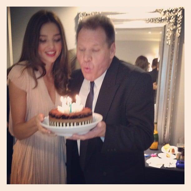 Miranda Kerr celebrated her dad's birthday backstage before the David Jones fashion launch. Source: Instagram user mirandakerrverified