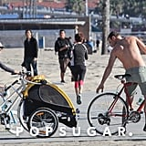 Liev Schreiber Goes Shirtless For a Family Bike Ride