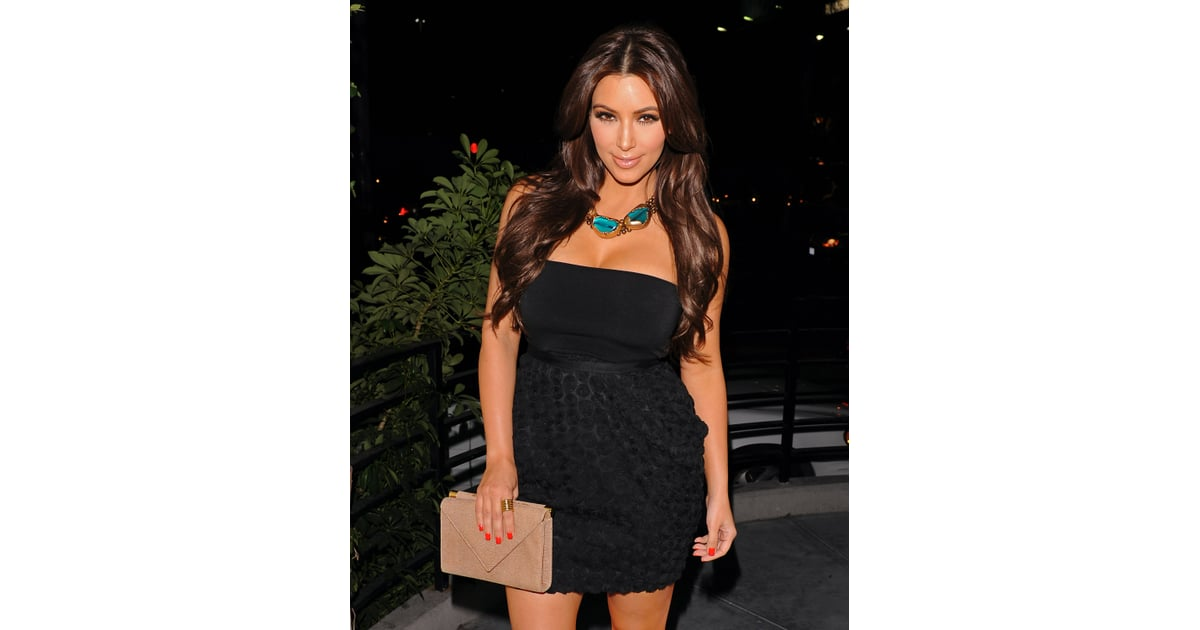 Kim Kardashian chose bright red nail polish for her night out on the ...