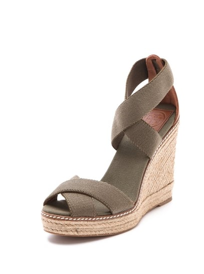 Pair this olive green Tory Burch wedge espadrille ($195) with cropped trousers and a sleek blazer for a work-appropriate Summer look.