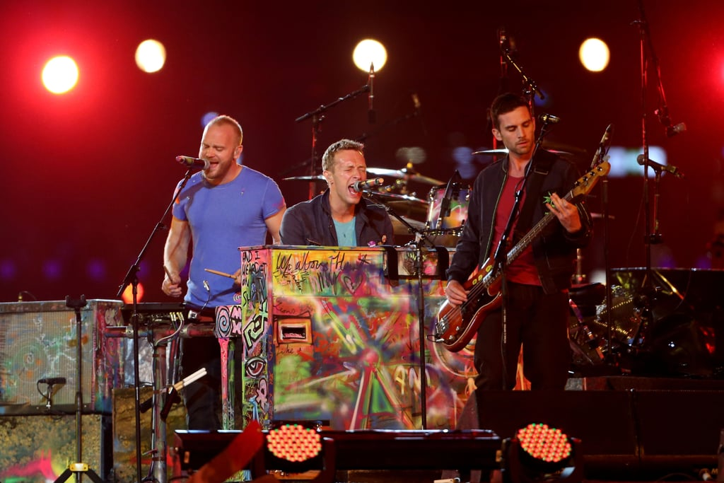 Chris Martin performed with his band, Coldplay, at the London Paralympics closing ceremony.