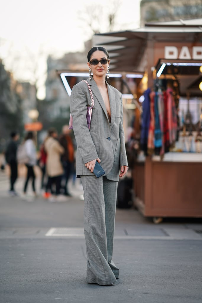 For a touch of skin, wear your blazer and trousers sans shirt.