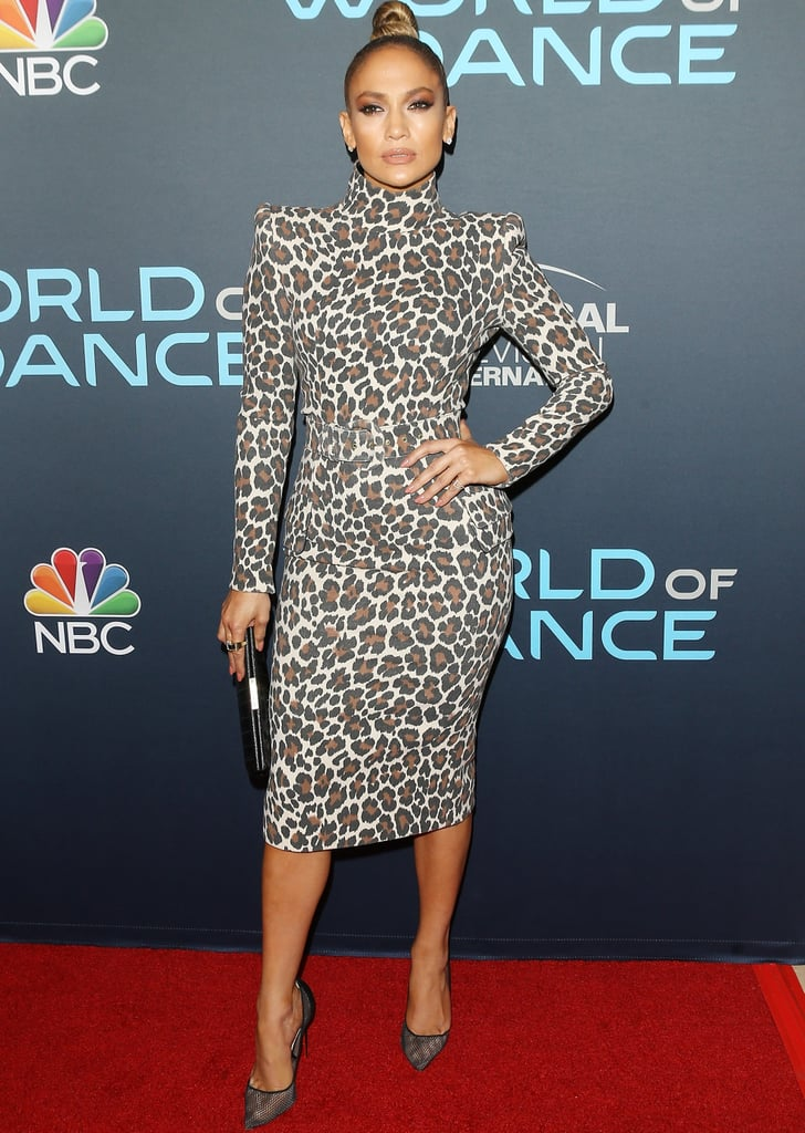 Jennifer Lopez Leopard Sergio Hudson Dress and Mesh Heels