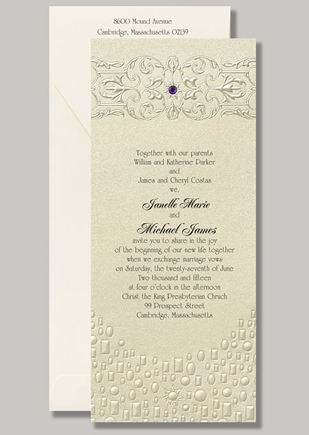 """A pop of purple and embossed lanterns give this Rapunzel stationery, """"Flowing Artistry,"""" its Tangled flair."""