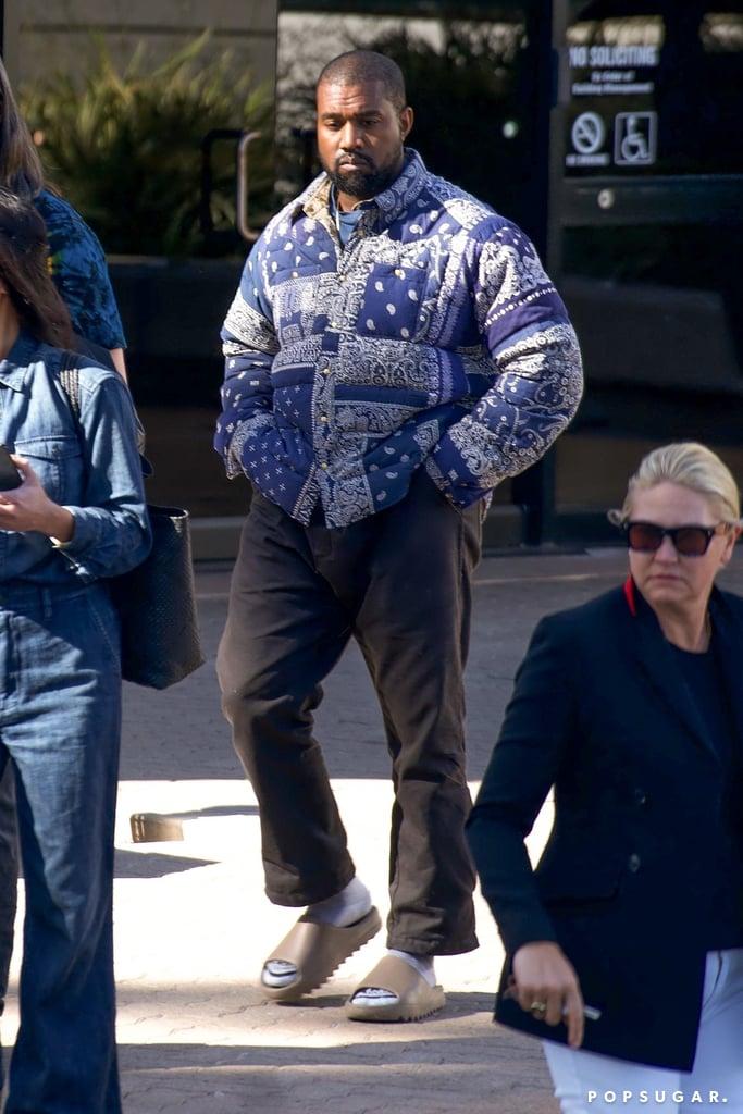 Kanye West S Bandana Print Visvim Puffer Coat Popsugar Fashion Uk Photo 3