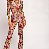 Jaded London Butterfly Print Mesh Flared Leg Catsuit