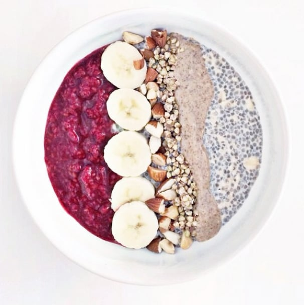 Instead of stacking your layers on top of each other, place your pudding with oats and jam side by side in a bowl and top with bites of nuts and bananas and a drizzle of almond butter for extra flavor.  Source: Instagram user miss_ahn_dbd