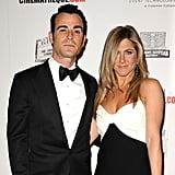 Justin Theroux posed with fiancée Jennifer Aniston at the American Cinematheque Awards.