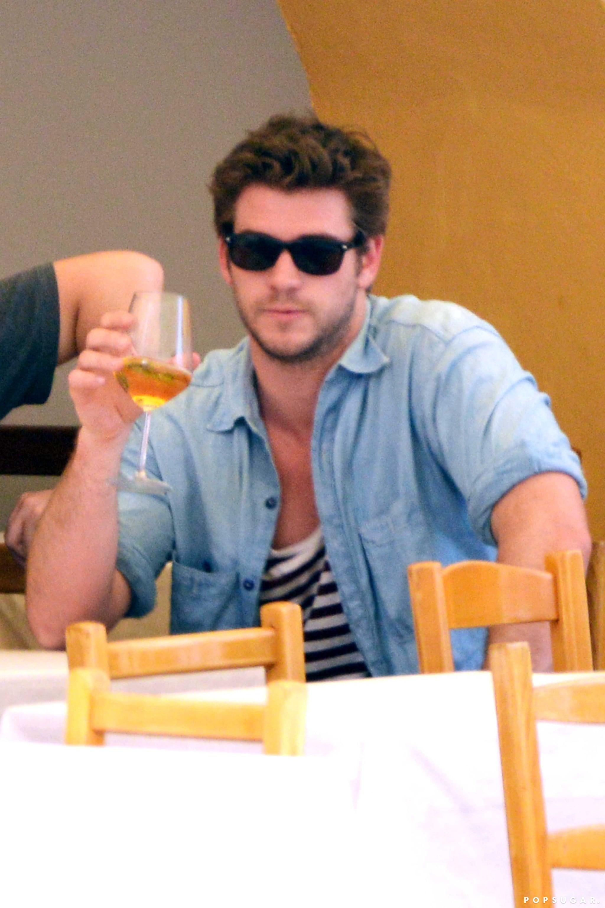 Liam Hemsworth Tastes the Life of Luxury From His Tiny, Tiny Glass