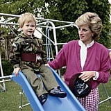 Harry enjoyed some playtime in the garden of Highgrove House in July 1986.